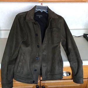 Vegan suede button down jacket, collared
